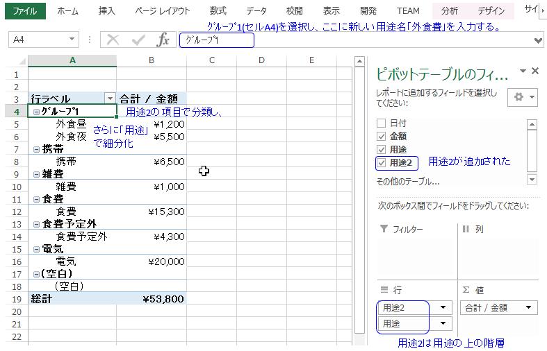 エクセル ピボットテーブルで集計項目をまとめるグループ化の方法 文字