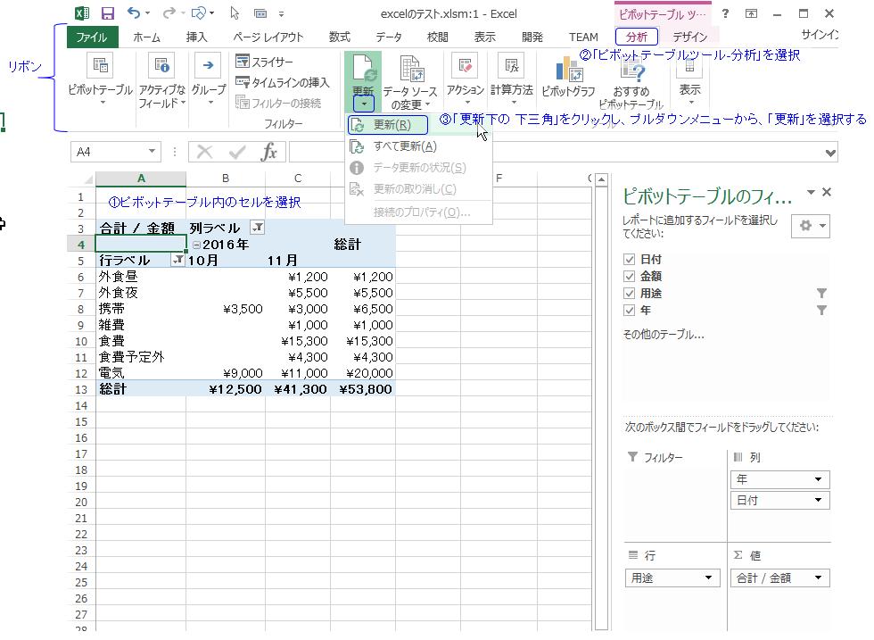 エクセル ピボットテーブルで元データを追加したときの更新方法